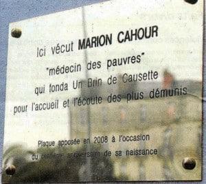 plaque Marion Cahour